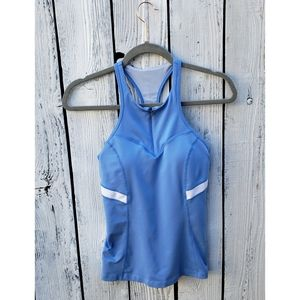 Zella Workout Built In Bra Half Zip Tank Top Small